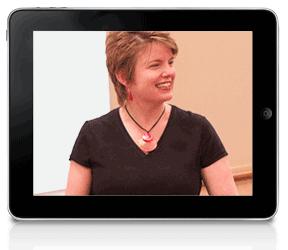 Laura on an iPad