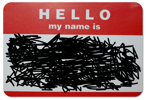 Scribbled-on nametag