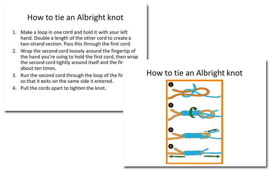 Knot-tying slides