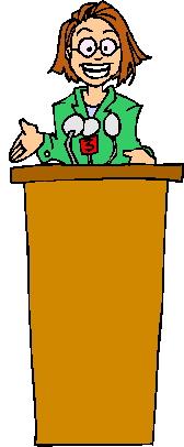 Speaker at lectern