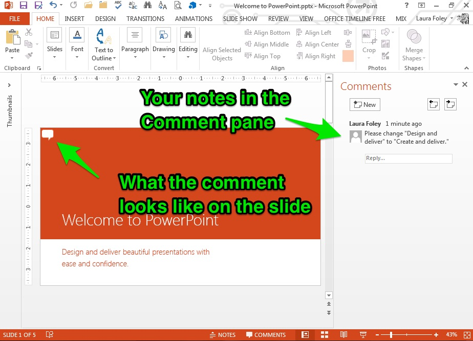 PPT Comment tool in action